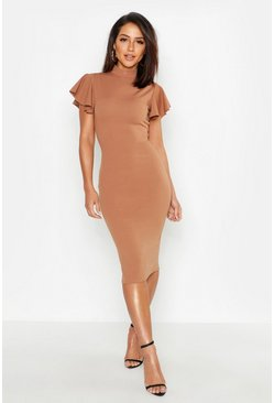 Toffee beige High Neck Frill Sleeve Midi Dress