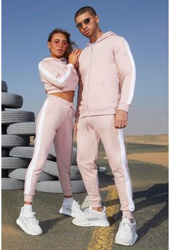 Dusky pink Her Contrast Panelled Crop Hooded Tracksuit