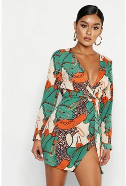 Green Satin Chain Print Twist Shift Dress
