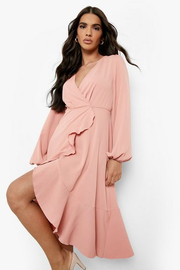 Blush pink Crepe Ruffle Wrap Midi Skater Dress