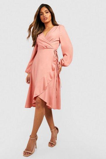 Blush pink Crepe Ruffle Wrap Midi Skater Dress