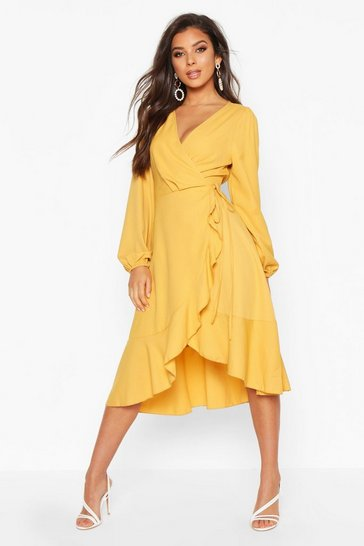 Mustard yellow Crepe Ruffle Wrap Midi Skater Dress