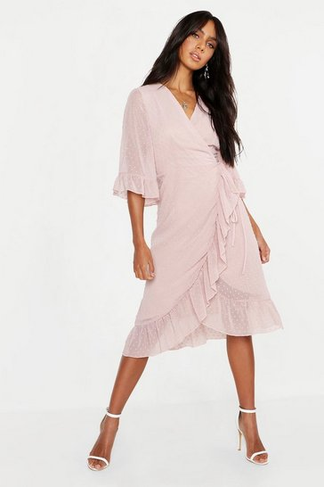 Blush pink Dobby Chiffon Wide Sleeve Midi Wrap Dress