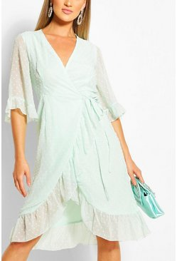 Mint green Dobby Chiffon Wide Sleeve Midi Wrap Dress