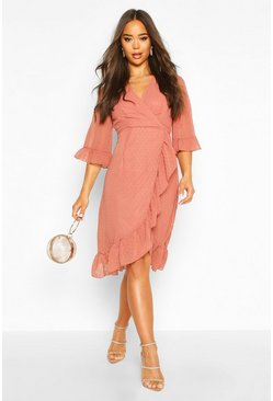 Rose pink Dobby Chiffon Wide Sleeve Midi Wrap Dress