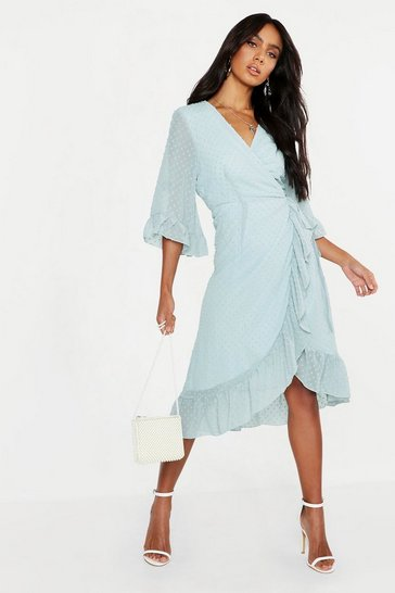 Sage green Dobby Chiffon Wide Sleeve Midi Wrap Dress