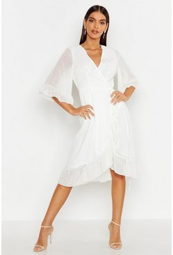 White Dobby Chiffon Wide Sleeve Midi Wrap Dress