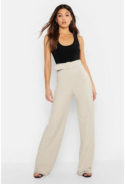 Stone beige High Waisted Belted Pants