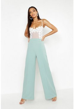 Sage green High Waisted Seam Front Wide Leg Trousers