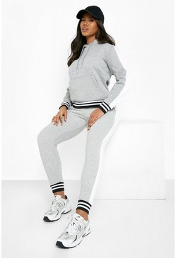 Grey marl grey Her Side Panel Contrast Rib Hooded Tracksuit
