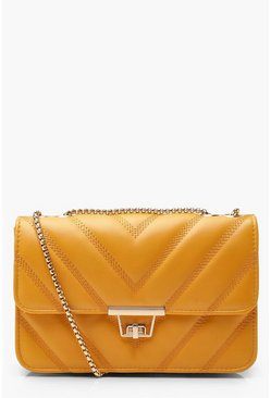 Mustard PU Cross Body Bag