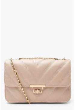 Taupe beige PU Cross Body Bag