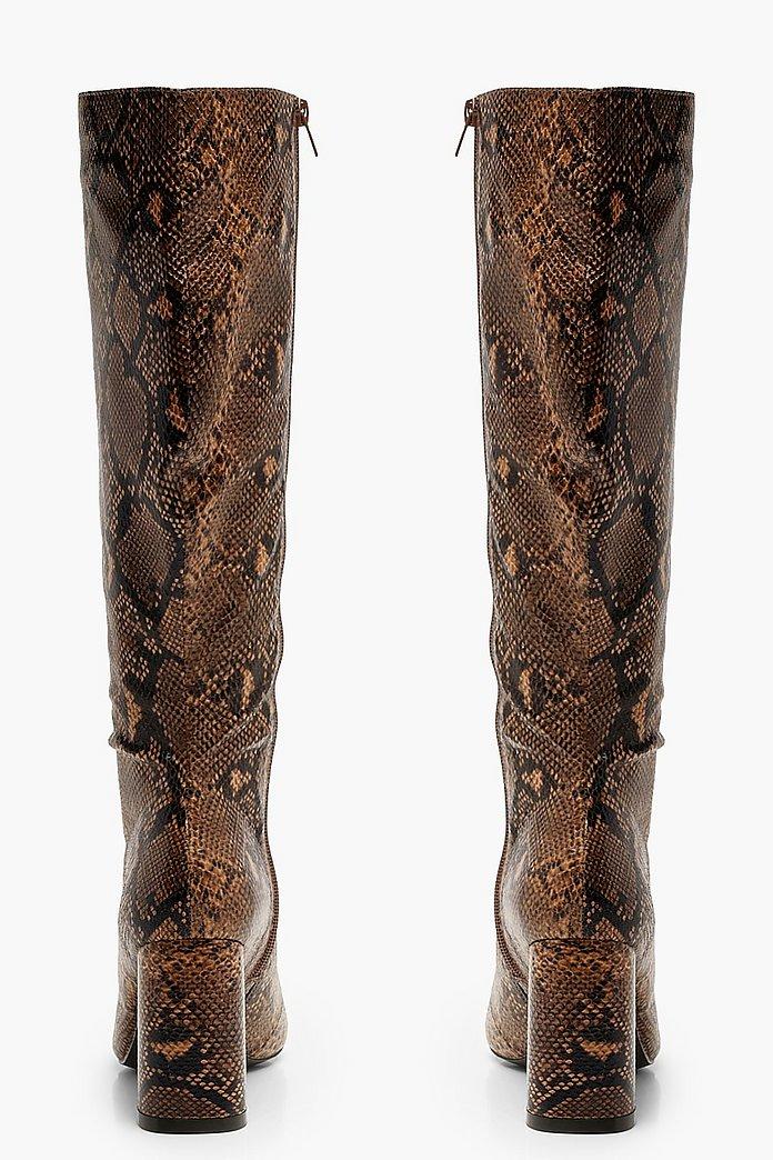 Snake Print Over The Knee Boots | Boohoo UK
