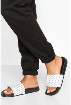 "Black svart ""Woman"" sliders med slogan"