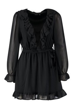 Black Ruffle Plunge Front Skater Dress