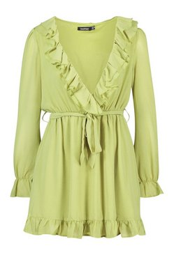 Chartreuse Ruffle Plunge Front Skater Dress