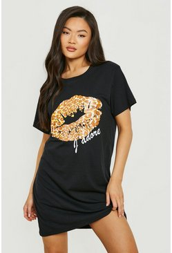 Black Leopard Print Lips T-Shirt Dress