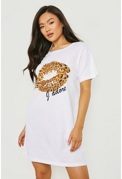 White Leopard Print Lips T-Shirt Dress