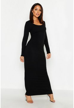 Black Long Sleeve Scoop Neck Ribbed Maxi Dress
