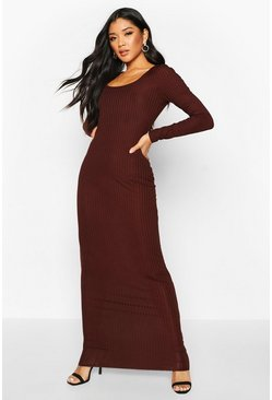 Chocolate brown Long Sleeve Scoop Neck Ribbed Maxi Dress