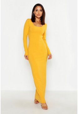 Mustard Long Sleeve Scoop Neck Ribbed Maxi Dress