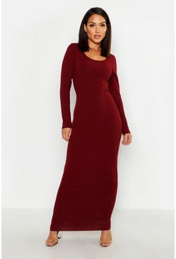 Wine red Long Sleeve Scoop Neck Ribbed Maxi Dress