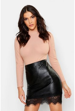 Black Lace Trim Faux Leather Skirt