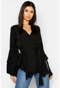 Black Tie Waist Frill Sleeve Wrap Blouse