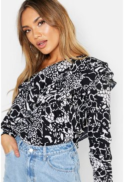 Black Snake Printed Woven Ruffle One Shoulder Top