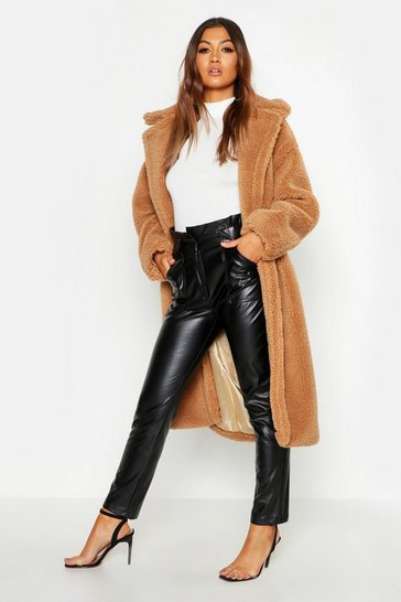 Camel beige Oversized Teddy Faux Fur Coat