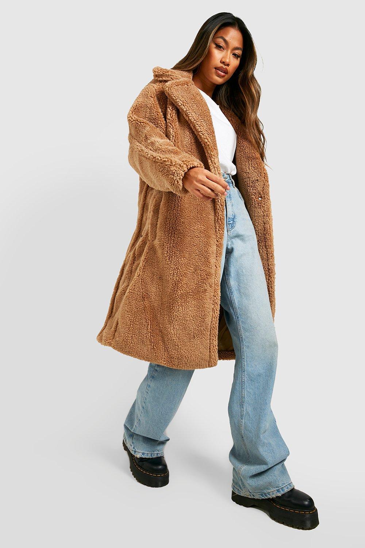 COATS & JACKETS Oversized Teddy Faux Fur Coat