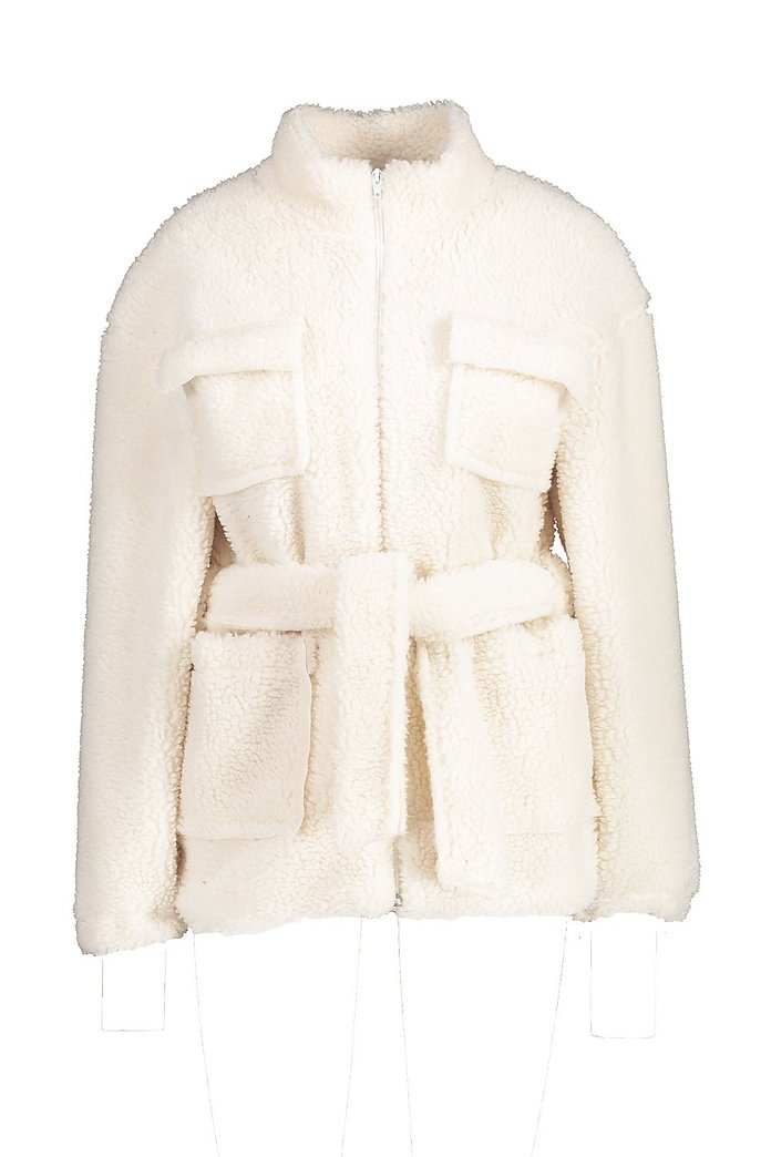 Teddy Faux Fur Utility Jacket | Boohoo