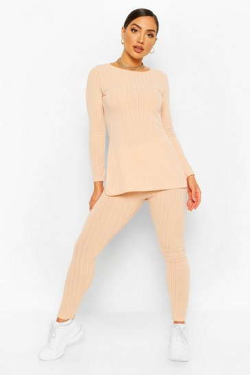Blush pink Longline Rib Top & Legging Co-Ord Set