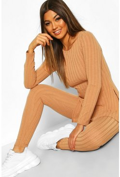 Camel beige Longline Rib Top & Legging Co-Ord Set