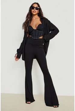 Black High Waist Basic Fit + Flare Trouser
