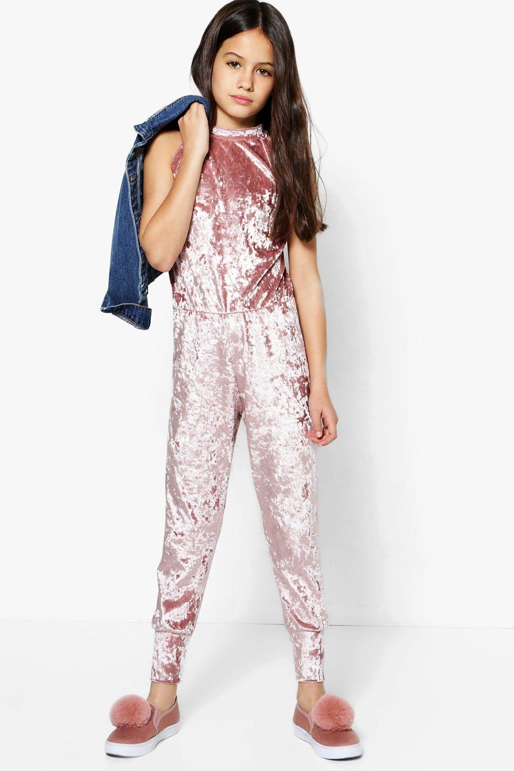 Girls High Neck Velour Jumpsuit Boohoo