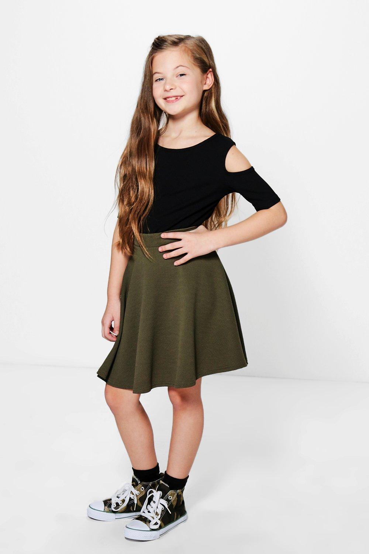 Girls Textured Skater Skirt   boohoo