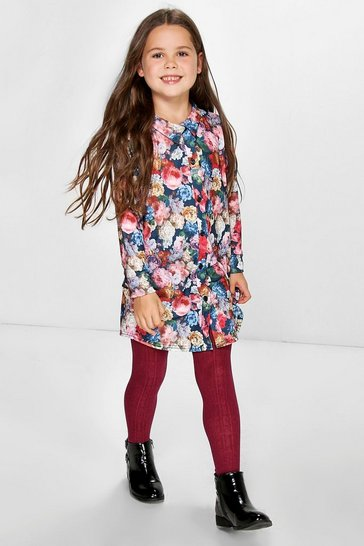Black Girls Floral Print Shirt Dress