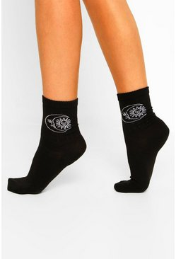Black Celestial Embroidered Sports Socks
