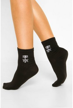 Black Slogan Sports Socks
