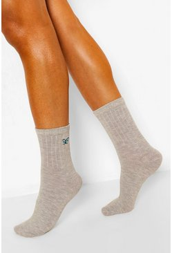 Grey Butterfly Embroidered Sports Socks