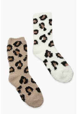 Multi 2 Pack Leopard Print Fluffy Socks