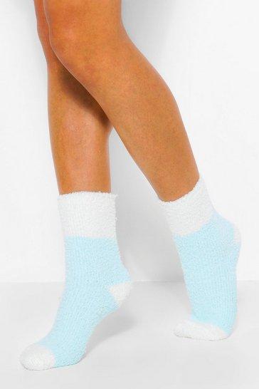Blue Contrast Heel Fluffy Lounge Socks