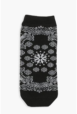 Black Bandana Print Sports Sock