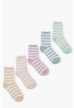 Multi 5 Pack Stripe Fluffy Bed Socks