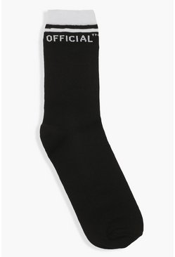 Black Slogan Sock