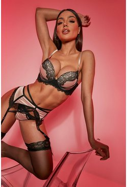 Satin Strapping Super Push Up Bra and Suspender Set