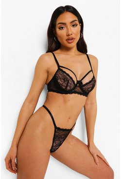 Black Lace Strapping Underwired Lingerie Set