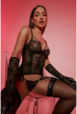 Black svart Eyelash Lace Suspender Basque