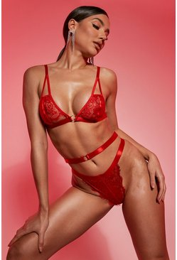 Red Valentines Eyelash Lace Cutout Lingerie Set